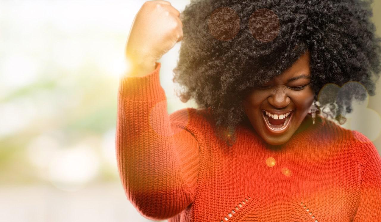Woman celebrating